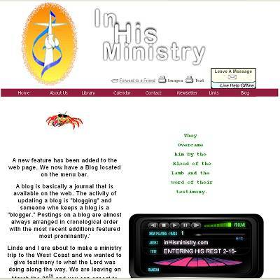 In His Ministry - Teaching God's Grace client - professional web site design