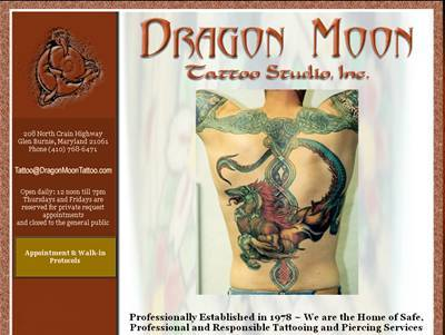 Dragon Moon Tattoo client - professional web site design